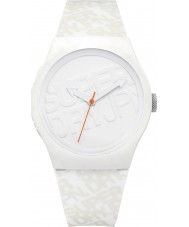 Superdry SYG169W Urban White Silicone Strap Watch with Printed Logo in Off White