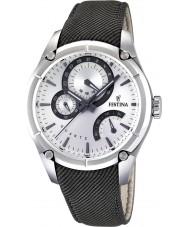 Festina F16767-1 Mens Black Leather Strap Multifunction Watch