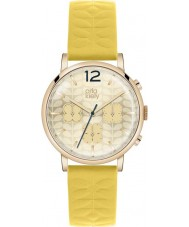Orla Kiely OK2004 Ladies Gold Chronograph Yellow Leather Strap Watch