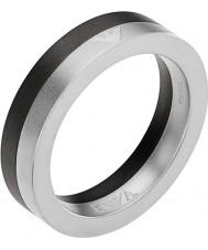 Emporio Armani Mens Architectural Black Silver Ring