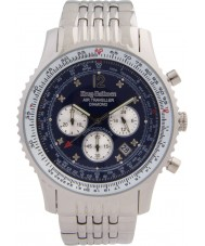 Krug Baümen 600304DS Mens Air Traveller Diamond Silver Chronograph Watch