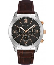 Bulova 98A142 Mens Dress Brown Leather Chronograph Watch