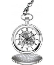 Rotary MP00726-01 Mens Mechanical Skeleton Steel Pocket Watch with Chain
