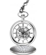 Rotary MP00726-01 Mens Mechanical Skeleton Steel Pocket Watch