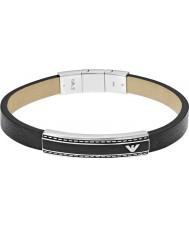 Emporio Armani EGS1923040 Mens Signature Black Leather ID Bracelet