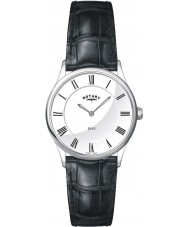 Rotary LS08200-01 Ladies Ultra Slim Silver Black Watch