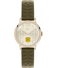 Orla Kiely OK2006 Ladies Gold Sunray Olive Leather Strap Watch