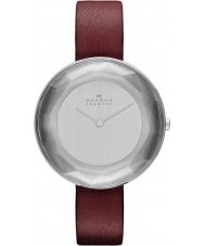 Skagen Ladies Gitte Red Leather Strap Watch