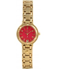 Krug Baümen 5119DL Charleston 4 Diamond Red Dial Gold Strap