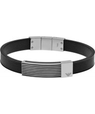 Emporio Armani EGS2072040 Mens Signature Flow Black Leather ID Bracelet