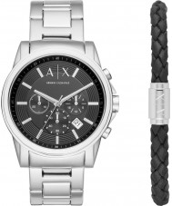 Armani Exchange AX7100 Mens Outerbanks Silver Watch and Black Leather Bracelet Gift Set