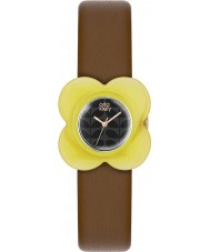 Orla Kiely OK2120 Ladies Poppy Yellow Case Brown Leather Strap Watch