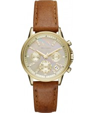 Armani Exchange AX4334 Ladies Sports Light Brown Leather Chronograph Watch