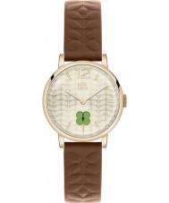 Orla Kiely OK2008 Ladies Gold Sunray Brown Leather Strap Watch