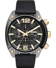 Diesel DZ4375 Mens Overflow Gun Plated Chronograph Leather Strap Watch