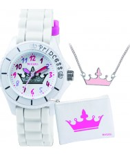 Tikkers Girls White Crown Watch Gift Set with Necklace and
