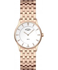 Rotary LB08204-02 Ladies Ultra Slim White Rose Gold Watch