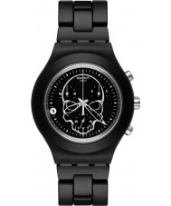 Swatch SVCF4001AG Unisex Full Blooded Black Skull Watch