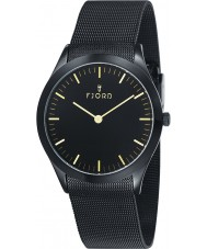 Fjord FJ-3007-55 Mens Munan 2 Hand All Black Mesh Watch