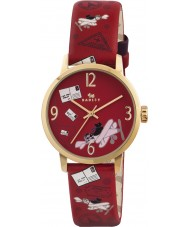 Radley Ladies Gold Plated Red Travel Print Strap Watch