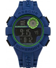 Superdry SYG193U Mens Radar Digital Blue Silicone Strap Watch