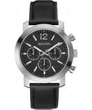 Bulova 96A159 Mens Sport Black Leather Strap Chronograph   Watch