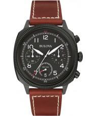 Bulova 98B245 Mens Military UHF Black Dark Brown Chronograph Watch