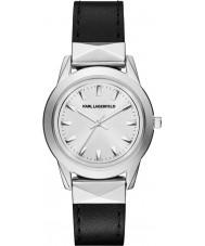 Karl Lagerfeld KL3805 Ladies Labelle Stud Sleek Black Leather Strap Watch