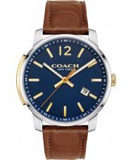 coach mens bleeker dark saddle leather strap watch