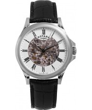 Rotary GS00372-01 Mens Silver Black Skeleton Automatic Watch
