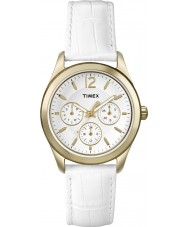 Timex T2P071 Ladies White Leather Strap Watch