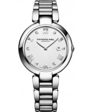 Raymond Weil 1600-ST-00618 Ladies Shine Silver Diamond Watch with Black Satin Interchangeable Strap