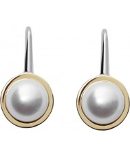 Skagen SKJ0884998 Ladies Agnethe Two Tone Steel Earrings with Pearl Gem