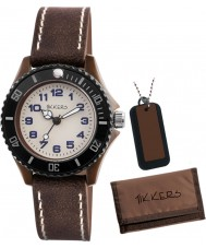 Tikkers ATK1017 Boys Vintage Watch Gift Set with Wallet and Necklace