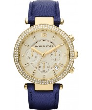 Michael Kors MK2280 Ladies Parker Gold and Navy Blue Chronograph Watch
