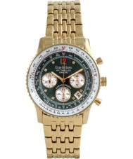 Krug Baümen 400108DS Air Traveller Green Dial Gold Plated Strap