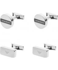 Emporio Armani EGS2257040 Mens Signature Silver Steel Set Cufflinks