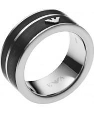Emporio Armani Mens Iconic Black Geometries Ring