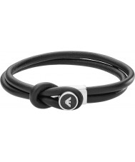 Emporio Armani EGS2212040 Mens Signature Black Leather Bracelets