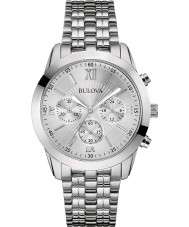 Bulova 96A163 Mens Dress Silver Steel Bracelet Chronograph Watch