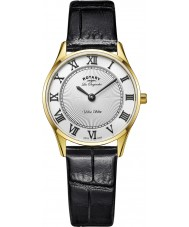 Rotary LS90803-01 Ladies Ultra Slim Black Leather Strap Watch