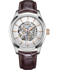 Rotary GS05032-06 Mens Silver Tone Brown Skeleton Mechanical Watch