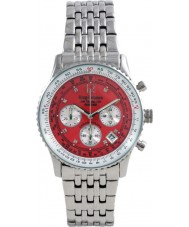 Krug Baümen 400305DS Air Traveller Red Dial Stainless Steel Strap