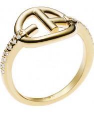 Emporio Armani Ladies Revealed Identity EA Logo Gold Ring