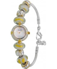 Accurist Ladies Silver Yellow Charmed Watch