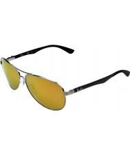 RayBan RB8313 61 Tech Carbon Fibre Gunmetal 004-N3 Gold Mirror Polarized Sunglasses