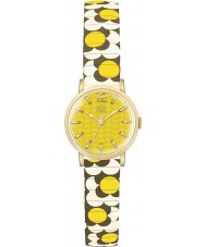 Orla Kiely OK4044 Ladies Flower Pop Mustard Cream Brown Expanding Bracelet Watch