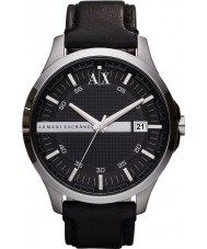 Armani Exchange AX2101 Mens Black Leather Strap Dress Watch