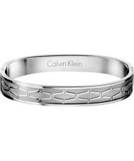 Calvin Klein KJ3BMD00010L Mens Abstract Silver Hinged Pattern Bangle