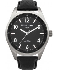 Ben Sherman WB022B Mens Big Carnaby Heritage All Black Leather Strap Watch